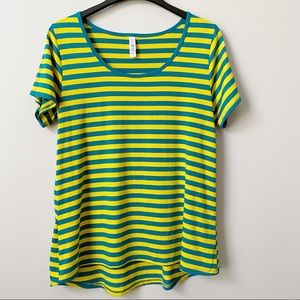 Lularoe Classic Tee in Teal and Yellow Stripes